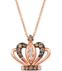 "le vian royalty collection chocolate diamonds (1/4 ct. t.w.) & nude diamonds (1/10 ct. t.w.) tiara 20"" pendant necklace in 14k rose gold"