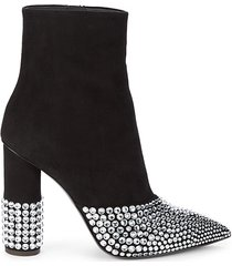 rhinestone & suede point toe booties