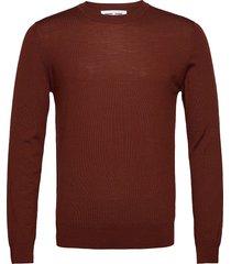 flemming crew neck 3111 stickad tröja m. rund krage röd samsøe samsøe