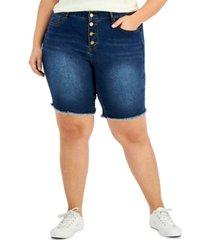 dollhouse trendy plus size exposed button bermuda jean shorts