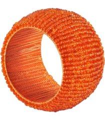 saro lifestyle beaded napkin ring, set of 4