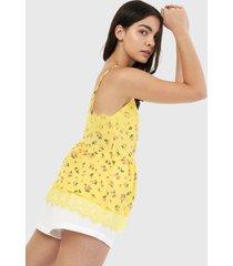 blusa amarillo-fucsia-blanco forever 21