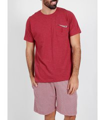 pyjama's / nachthemden admas for men pyjama kort t-shirt sjaal bordeauxrood admas