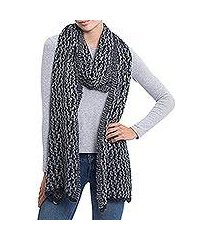alpaca blend scarf, 'evening snowfall' (peru)