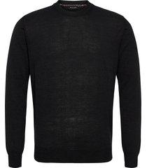 merino light - iq gebreide trui met ronde kraag zwart sand