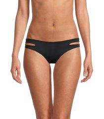 l*space by monica wise women's estella cutout bikini bottom - black - size l