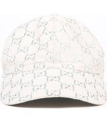gucci cream silver metallic gg monogram jacquard baseball cap cream/silver sz: