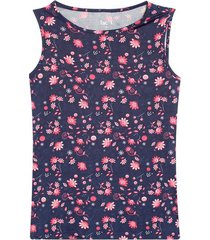 top con estampado flores color azul, talla l