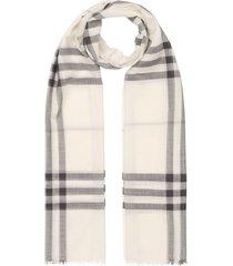 burberry lightweight check wool silk scarf - white