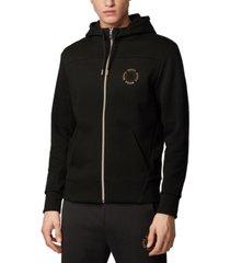 boss men's saggy circle zip-through hoodie