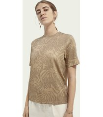 scotch & soda relaxed fit t-shirt met print van een ecovero-mix