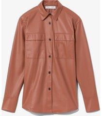 proenza schouler white label faux leather shirt blush/brown 6