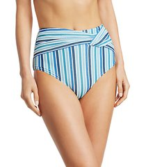 striped high-waist bikini bottom