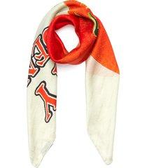 community garden graphic print silk scarf