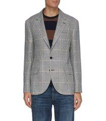single breast check linen wool silk blend blazer