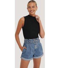 na-kd trend shorts med paperbag-midja - blue