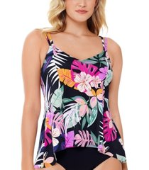 swim solutions deco printed princess-seam underwire tankini top, created for macy's women's swimsuit