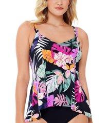 swim solutions deco printed princess-seam tankini top, created for macy's women's swimsuit