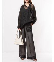 irene sheer palazzo trousers - black