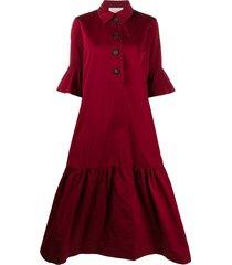 la doublej ruffled polo neck shirt dress - red