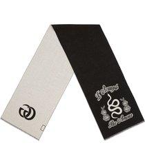 gucci wool snake jacquard scarf - black