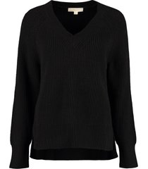 michael michael kors v-neck ribbed sweater