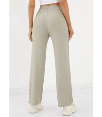 yoins basics color sólido cintura alta recto cordón casual pantalones