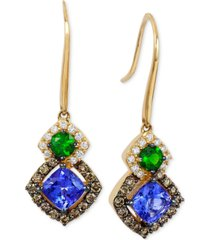 le vian chocolatier neo geo multi-gemstone (1-1/4 ct. t.w.) and diamond (1/2 ct. t.w.) drop earrings in 14k gold, created for macy's