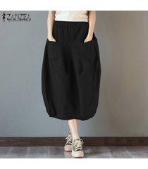s-5xl zanzea elástico de las mujeres de cintura alta vestido de algodón básico más el tamaño de la falda de midi -negro