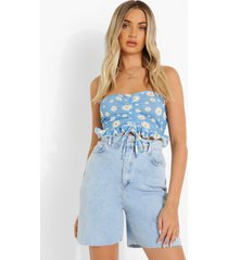 bandeau crop top met ruches en opdruk, blue