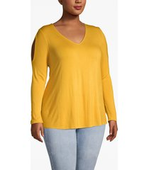 lane bryant women's cold-shoulder long-sleeve tee 22/24 golden spice