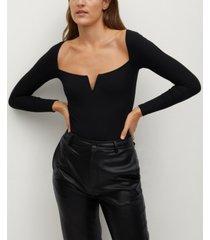 mango women's v-squared neckline bodysuit