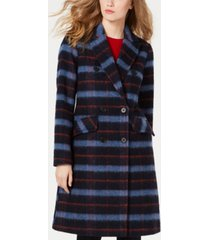 bcbgeneration double-breasted plaid coat, created for macy's