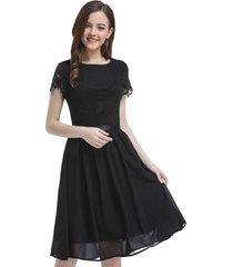vestido aplicación encaje negro nicopoly
