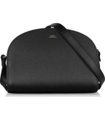 a.p.c. black embossed leather demi-lune shoulder bag