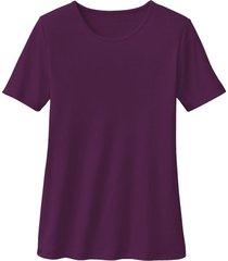 biokatoenen shirt met ronde hals, aubergine 44/46