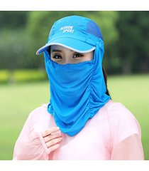 sombrero para mujer, plegable las velo cubierta la cara-azul