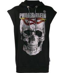 philipp plein crystal skull sleeveless hoodie - black