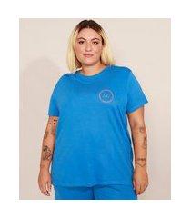 """t-shirt plus size change your mindset"""" manga curta decote careca mindset azul royal"""""""