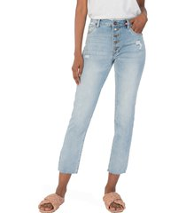 women's kut from the kloth reese high waist ankle straight leg jeans, size 0 - blue