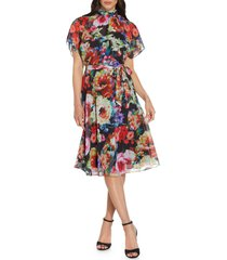adrianna papell ikat bouquets chiffon shift dress, size 16 in black multi at nordstrom