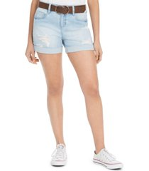 dollhouse juniors' belted cuffed denim shorts