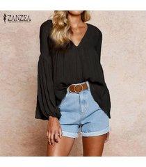 zanzea de las señoras de las tapas ocasionales de la manga larga suelta sólido camisa de la blusa del puente plus -negro