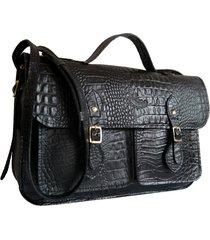bolsa line store leather satchel pockets média couro preto croco