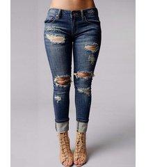 detalles rasgados al azar denim de cintura media jeans