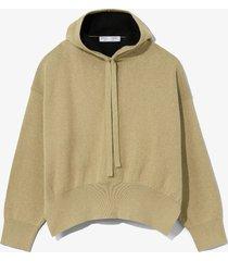 proenza schouler white label cashmere blend hoodie putty/black/brown l