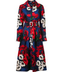 samantha sung floral flared shirt dress - black