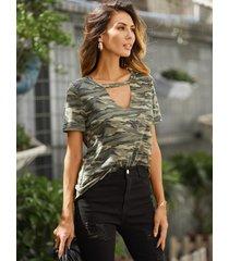 camiseta de manga corta yoins army green camo crew cuello