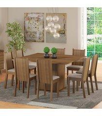 conjunto sala de jantar clarice madesa mesa tampo de madeira com 8 cadeiras marrom - marrom - dafiti