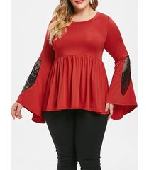 plus size lace panel contrast peplum tee